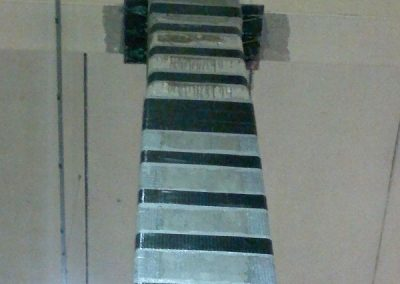 Intervento di rinforzo del pilastro centrale e del collegamento trave-pilastro