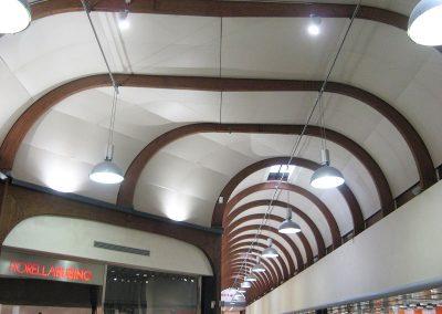 Copertura della galleria del c.c. ad archi in legno lamellare, archi a tutto sesto ed archi ribassati