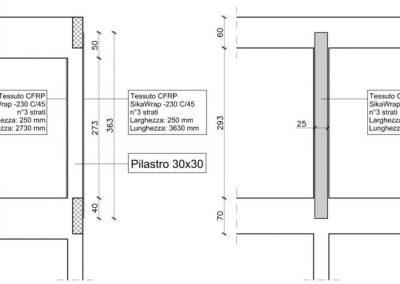 Corpo Vecchio: Rinforzo con CFRP di pilastro