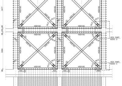 Struttura metallica di controventamento pareti longitudinali