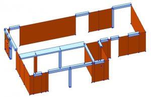 Modello FEM dell'edificio C2 allo stato di progetto