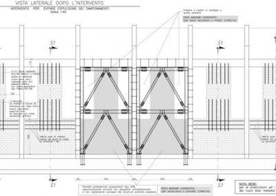 Presidio anti-ribaltamento delle tamponature mediante inserimento di barre d'acciaio