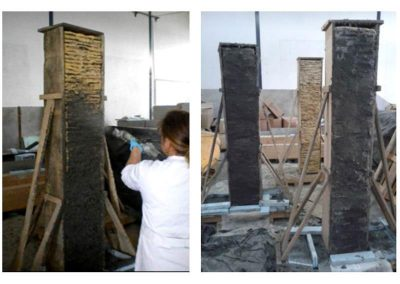 Applicazione rinforzo FRM a provini di muratura in pietra di scisto
