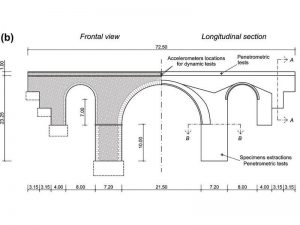 Vista e sezione del ponte in muratura di San Marcello Pistoiese