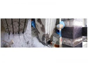 Fasi di applicazione delle lamine NSM longitudinali e delle fasce EBR trasversali