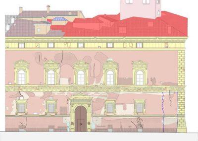 Stralcio tavola progetto arch. interventi su facciata su via Saragozza e copertura