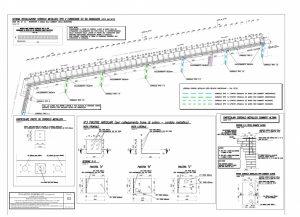 Sezione verticale di progetto del cordolo metallico in sommità delle murature