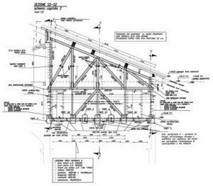 """Sezione verticale di progetto delle strutture metalliche a sostegno dei solai p. 2° (soffitto """"Sala Rossa"""") + piano sottotetto + copertura"""
