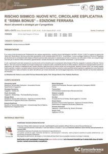 """Corso di aggiornamento tecnico: Rischio sismico: nuove NTC, circolare esplicativa e """"Sisma Bonus"""""""