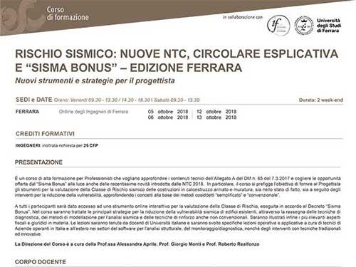 """Corso di aggiornamento tecnico – Rischio sismico: nuove NTC, circolare esplicativa e """"Sisma Bonus"""""""